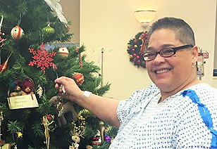 Patient with Christmas tree