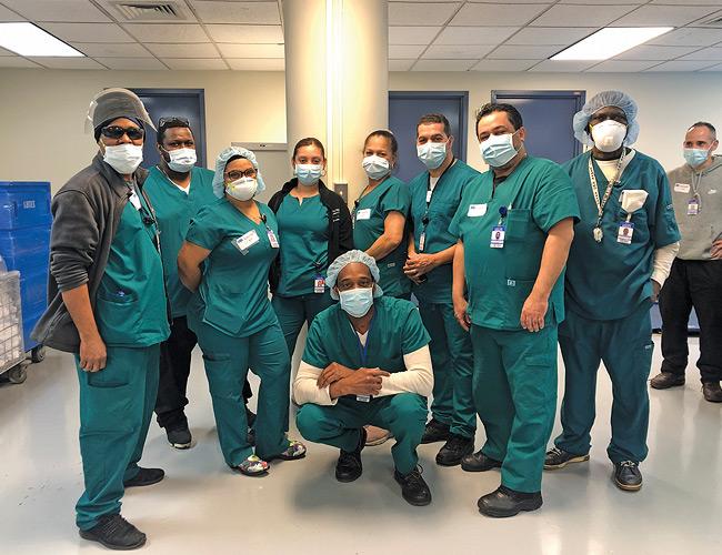 Calvary staff in scrubs