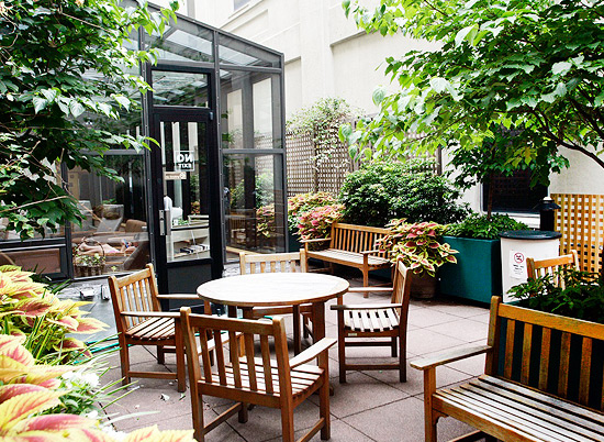 The patio at the Brooklyn campus